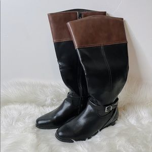 NEW Two Toned Tall Brown Buckle Black Boots